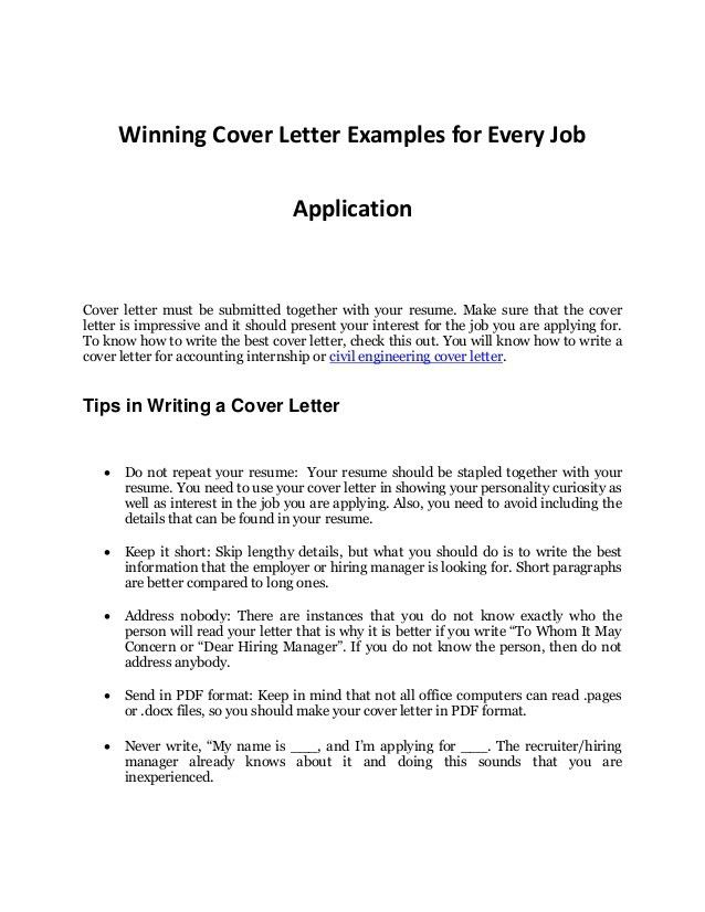 winning cover letter examples for every job application cover ...