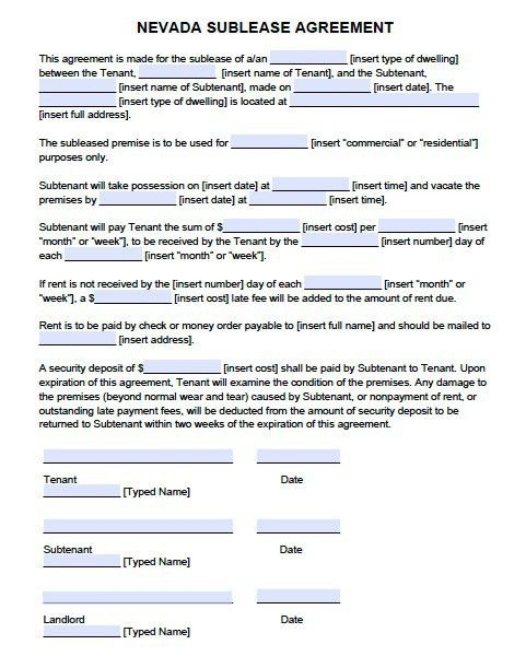Free Nevada Sublease Agreement Form – PDF Template