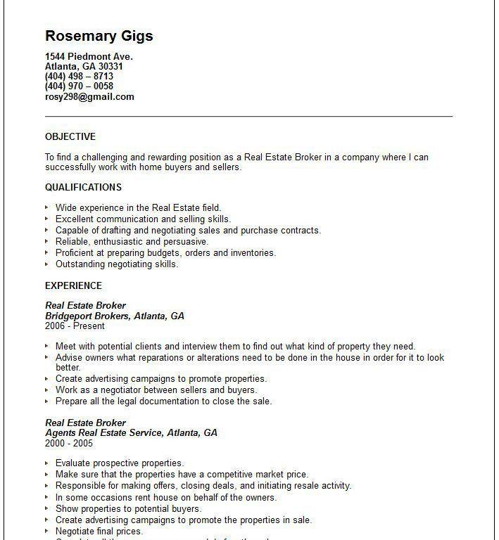 Real Estate Resume [Template.billybullock.us ]