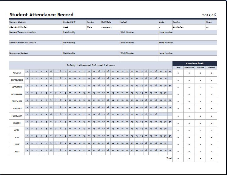 MS Word School Attendance Sheet Template | Formal Word Templates