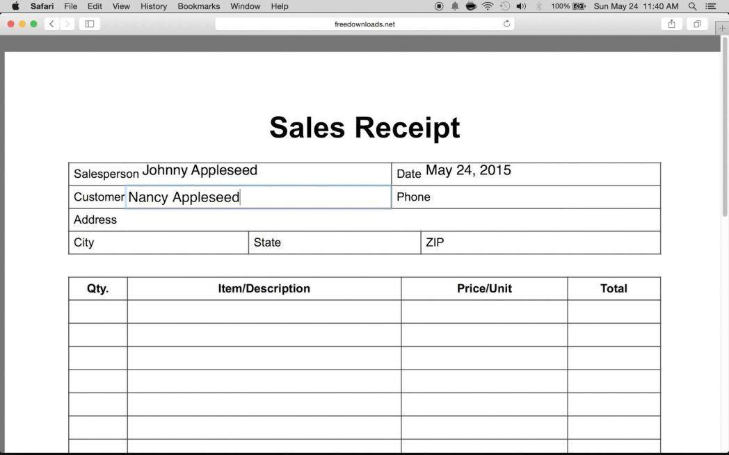 Simple Business Receipt Template Sales Quickbooks ...