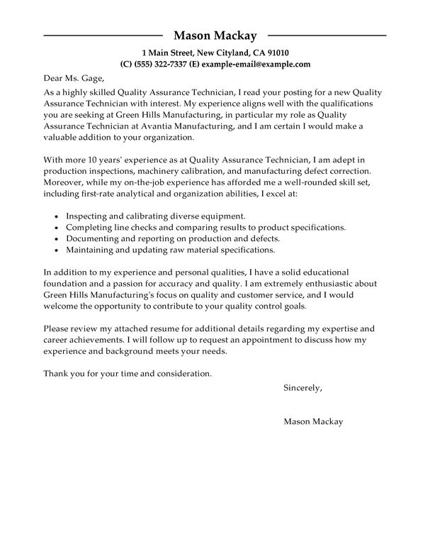 maintenance and quality assurance resume. sample. qa cover letter ...