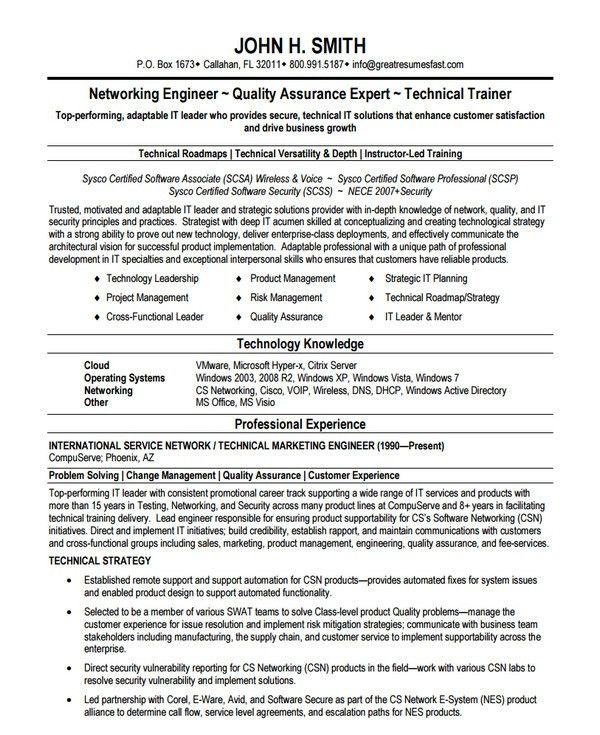 10+ Network Engineer Resume Templates