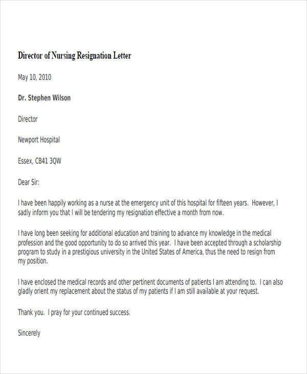 nursing resignation letters