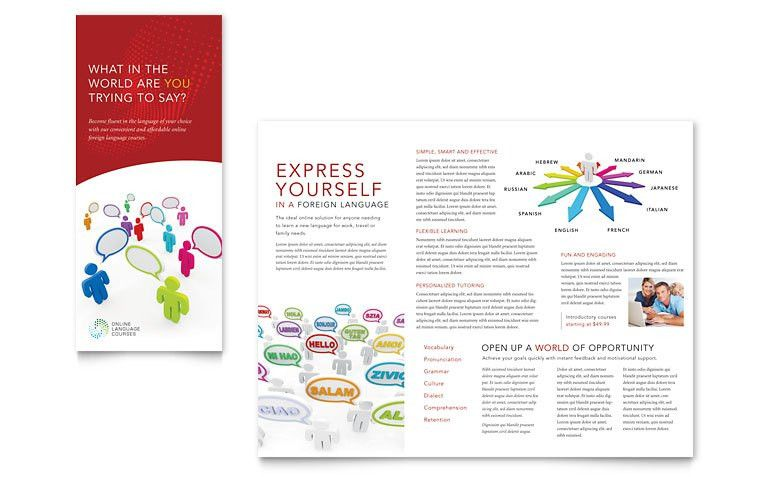 Language Learning Tri Fold Brochure Template - Word & Publisher