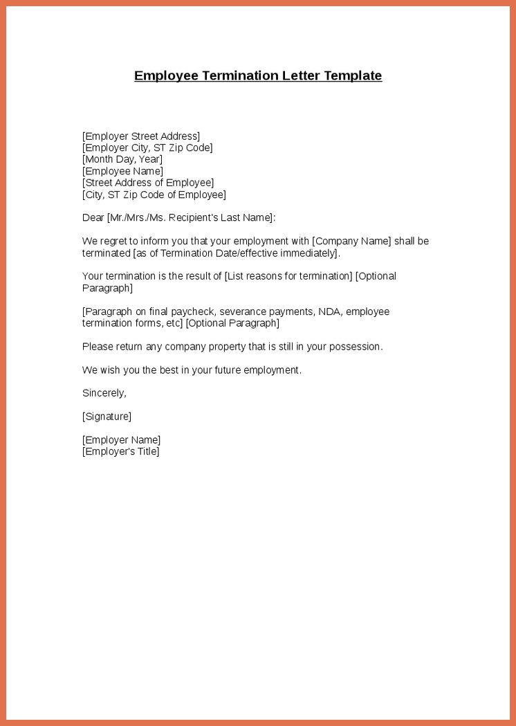 employee termination letter 03. editable job termination letter to ...