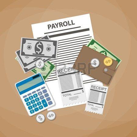 Payroll Concept. Payroll Invoice Sheet, Check Receipt, Calculator ...