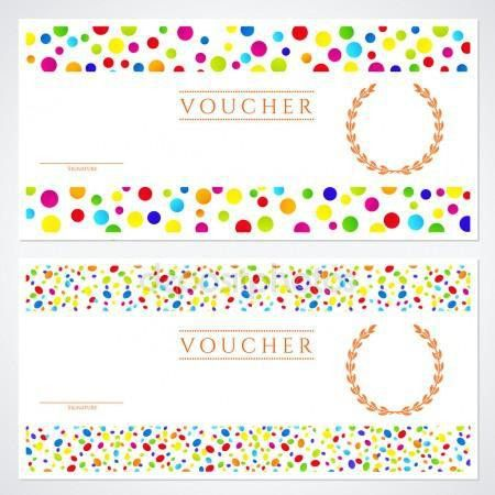 Voucher (Gift certificate) template with colorful (bright, rainbow ...