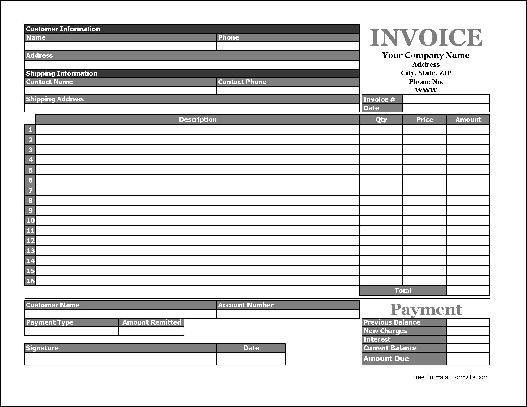 Free Easy-Copy Simple Product Invoice with Payment Stub (Wide ...