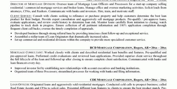 Mortgage Loan Officer Objective Resume Mortgage Loan Officer ...