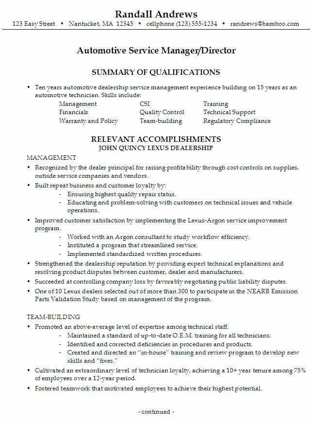 Resume for an Automotive Service Manager - Susan Ireland Resumes