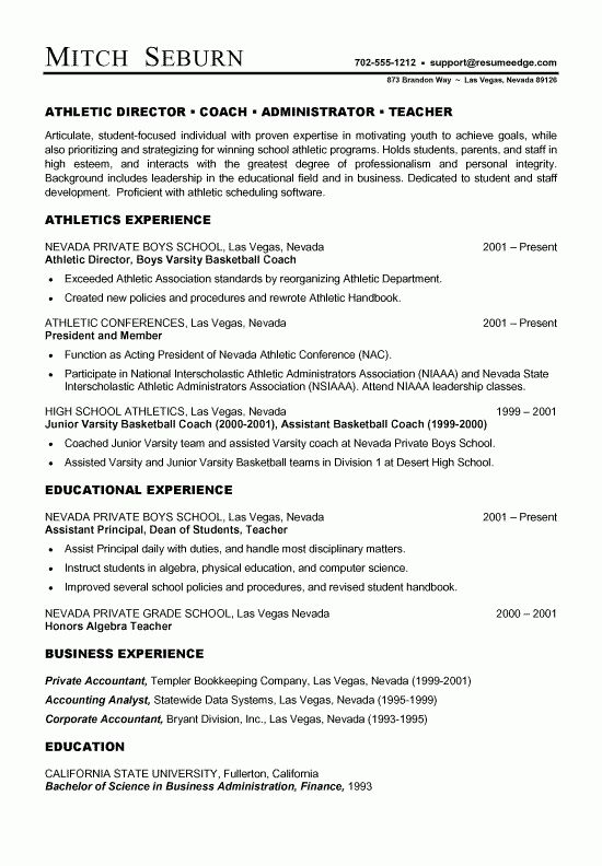 Coach Resume Example - Sample