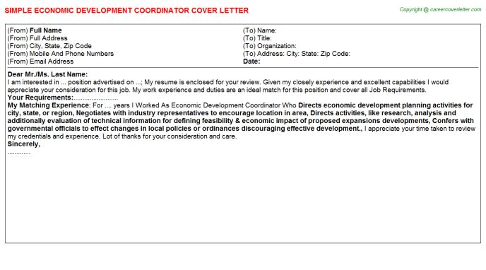 Economic Development Coordinator Cover Letter