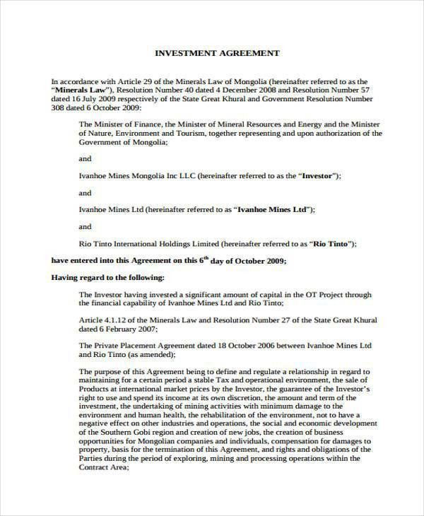 8+ Investment Agreement Form Samples - Free Sample, Example Format ...