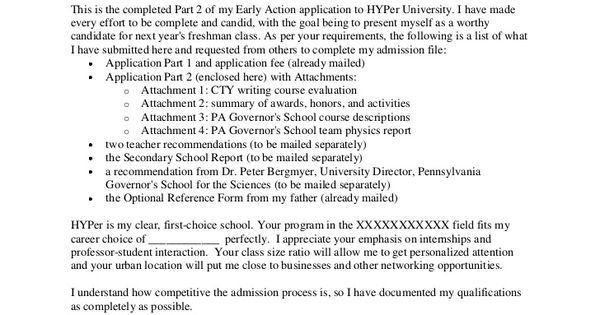 essay letter for college admission | College application cover ...