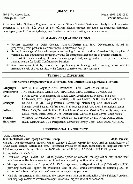 Software Engineer Resume Example - Technical Resume Writing ...