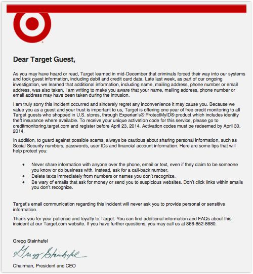 Target issues apology letter – but includes some awful security ...