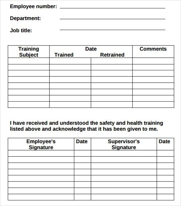 Employee Record Template Employee Record Templates 32 Free Word – Training Log Template