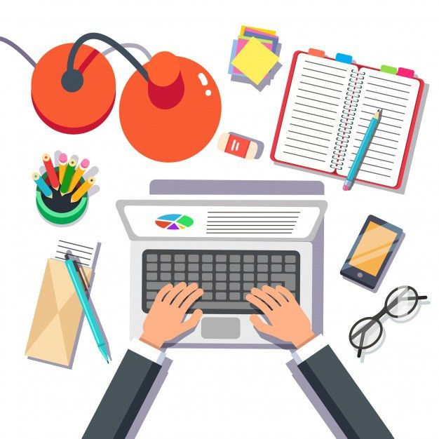 Businessman writing sales or report on a laptop Vector | Free Download