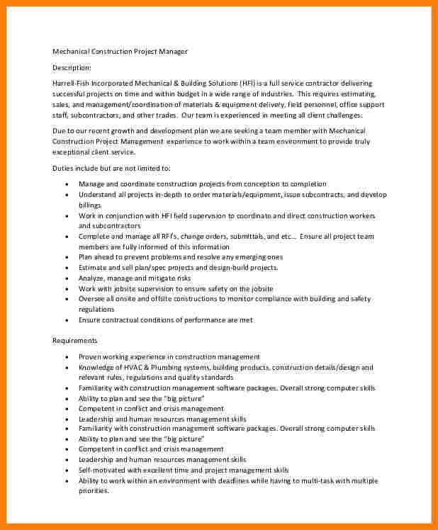 job description for construction project manager