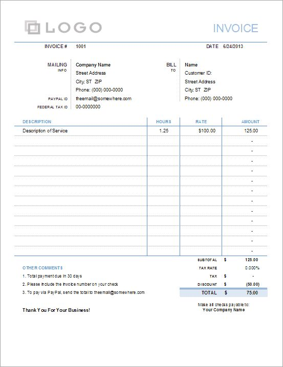 Invoice with Hours and Rate - Free