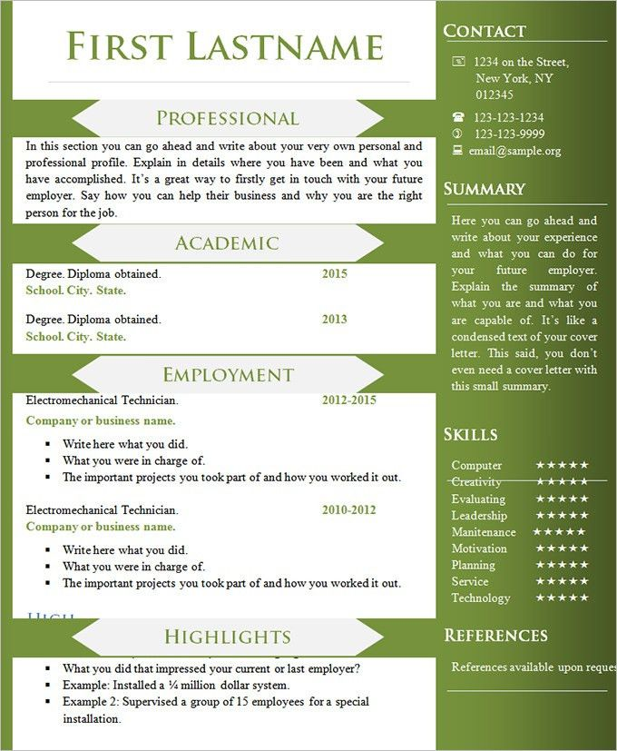 different resume formats for freshers