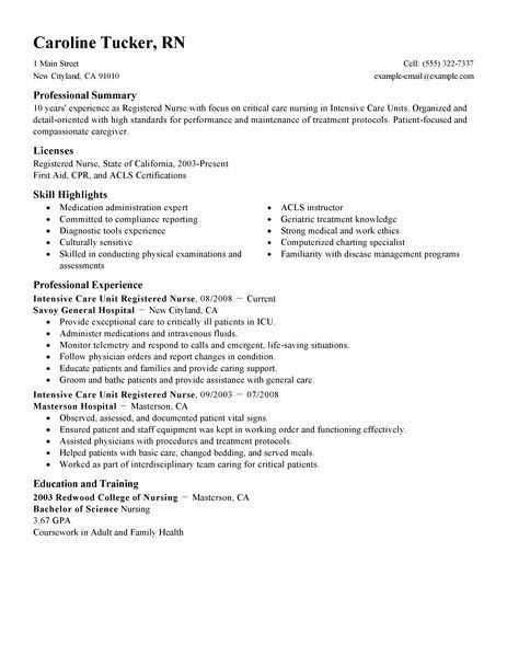 Best Intensive Care Unit Registered Nurse Resume Example | LiveCareer