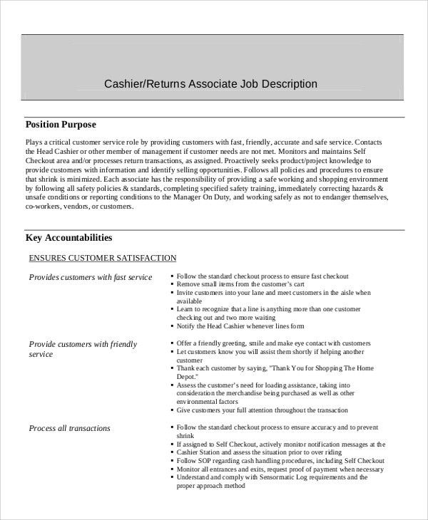 Sample Cashier Resume - 7+ Examples in Word, PDF