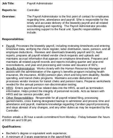 Payroll Administrator Job Description Sample - 8+ Examples in Word ...