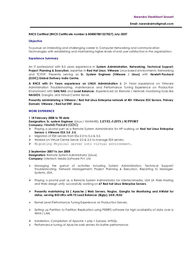 Download Linux System Engineer Sample Resume ...