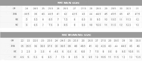 Nike Air Force Size Chart   VCFA