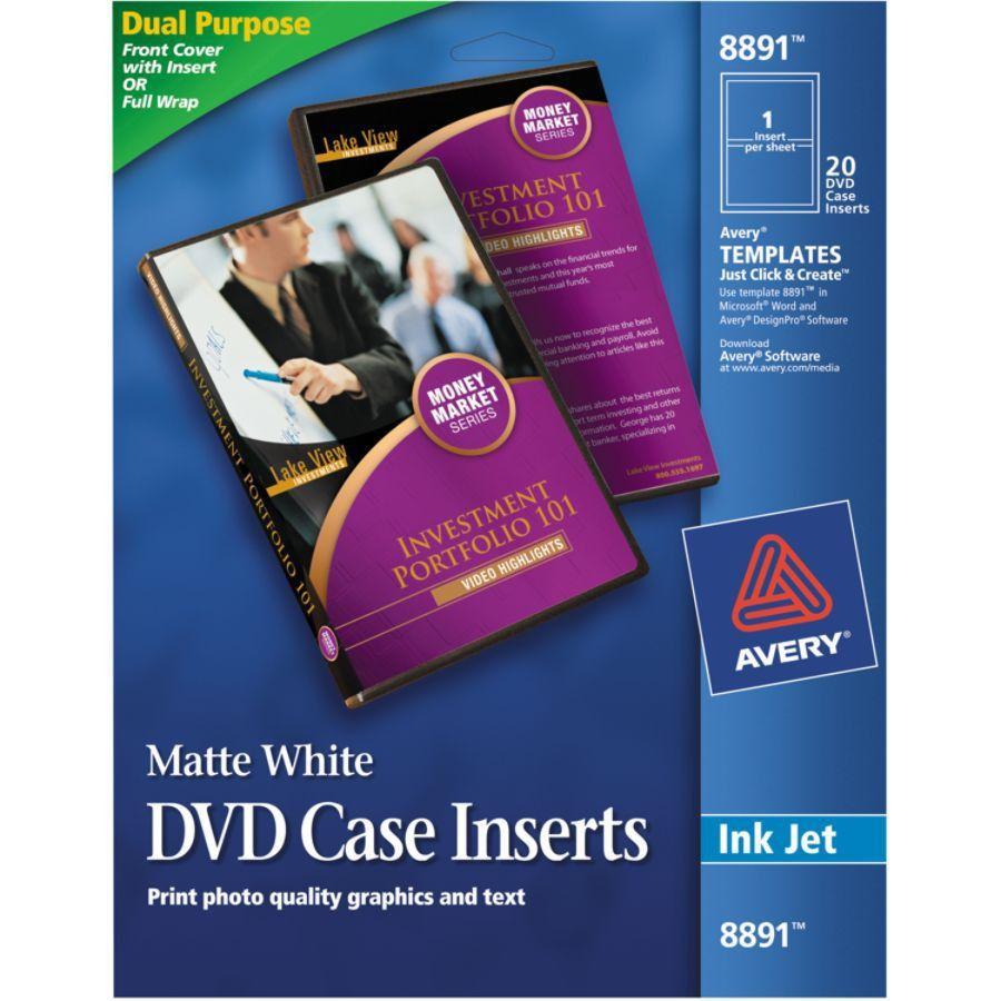 Avery Inkjet DVD Case Inserts 4 12 Diameter White Pack Of 20 ...
