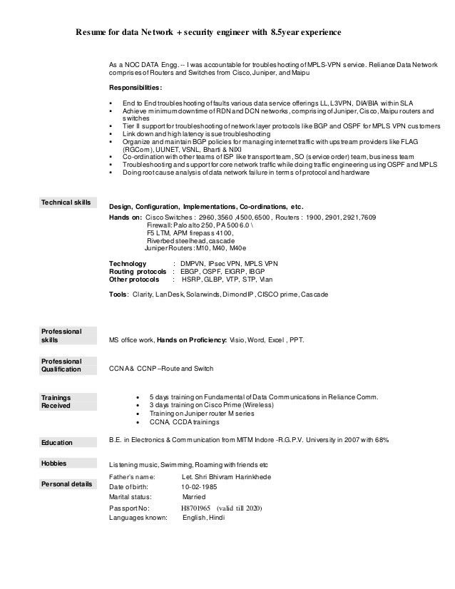 Resume Data Network engineer+ security with 8.5Yrs Exp