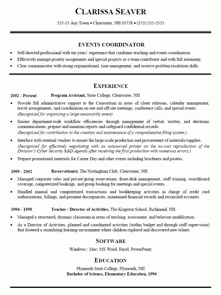 sales specialists promotion hostess event coordinator resume