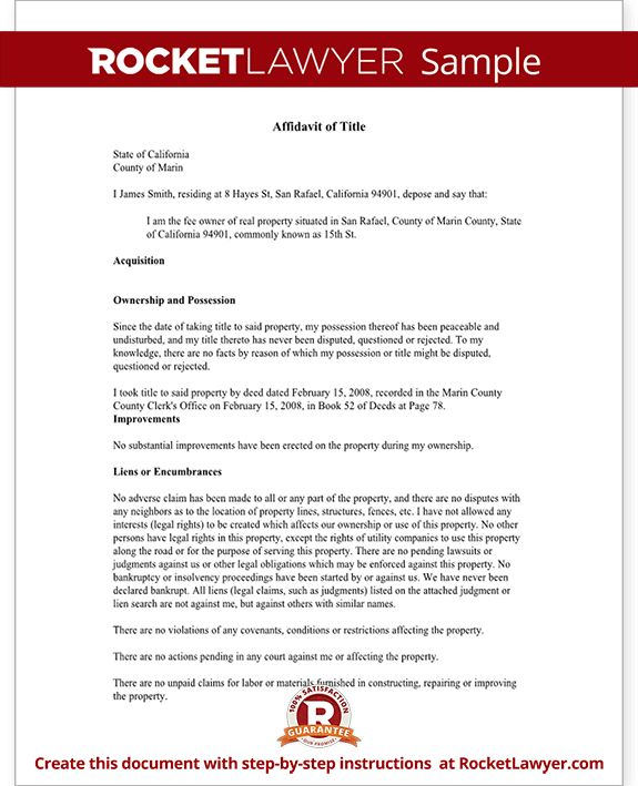 Affidavit of Title - Affidavit of Title Template (With Sample)