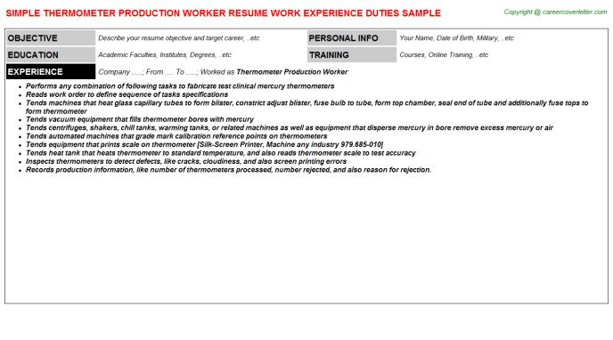 Thermometer Production Worker Job Title Docs