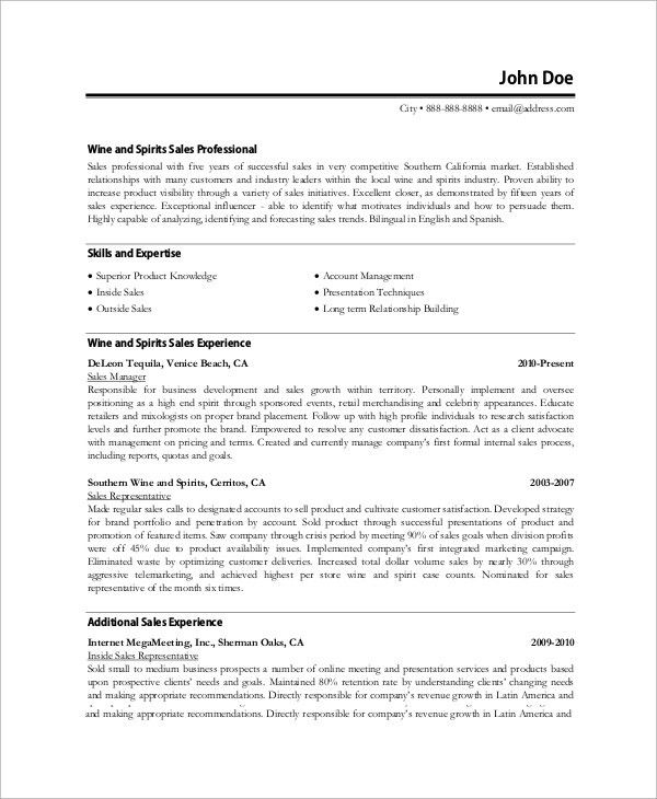 Sample Professional Resume - 8+ Examples in Word, PDF