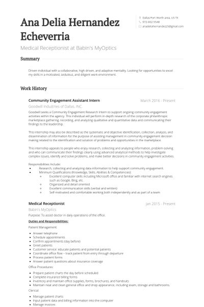 Splendid Resume For Medical Receptionist 1 Medical CV Template Job ...