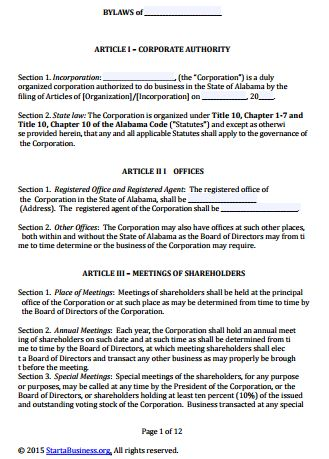 Free Alabama Corporate Bylaws Template | PDF | Word |