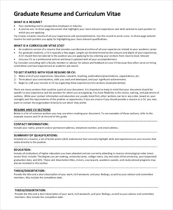 Sample Graduate School Resume   9+ Examples In PDF, Word