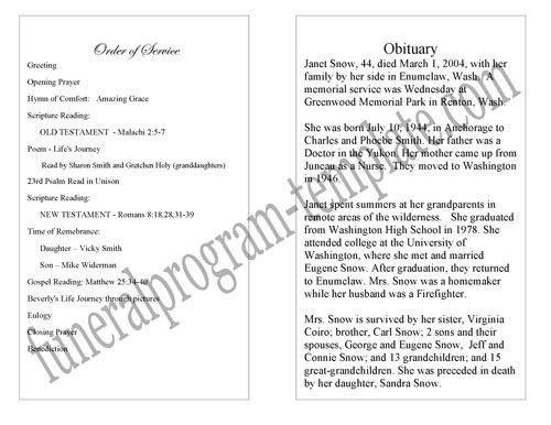 Simple Funeral Program | Memorial Booklet Sample