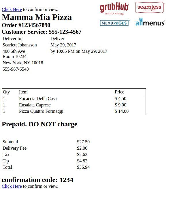 Food delivery order API for Grubhub, Eat24, etc.   Parseur.com