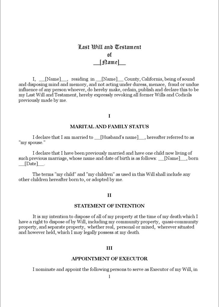 Free California Last Will And Testament Form 1 - FormXls