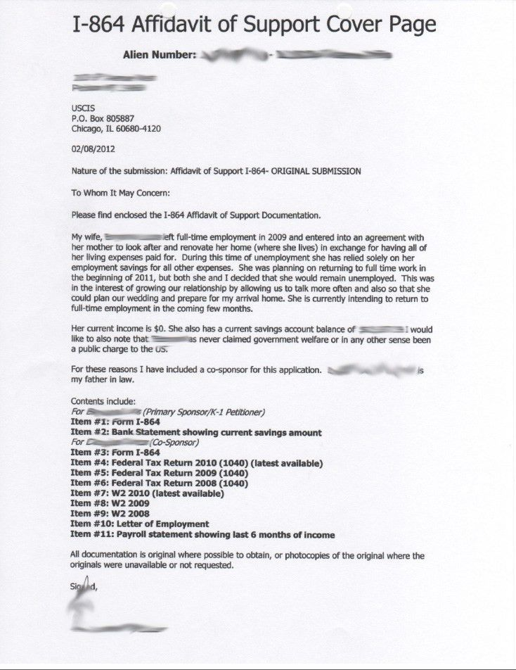 sponsorship letter affidavit of support affidavit of support for ...