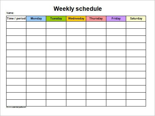 5 day schedule template
