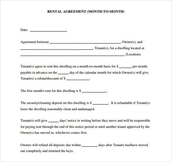 Free Download Blank Lease Agreement Example for Month to Month ...
