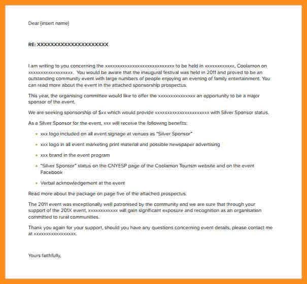 Sponsorship Letter. Sample Company Sponsorship Letter For Student ...