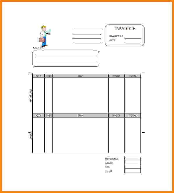 6+ free construction invoice template | Short paid invoice