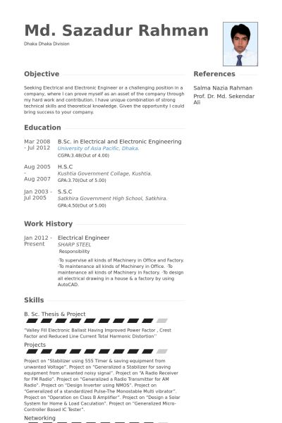 Electrical Engineer Resume samples - VisualCV resume samples database