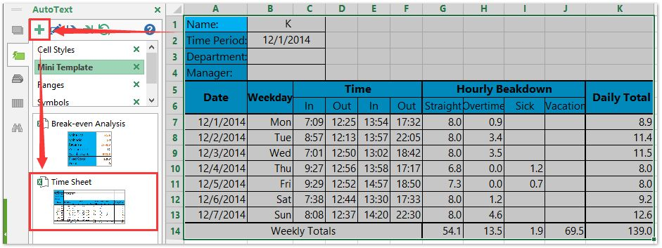How to create a time sheet template in Excel?